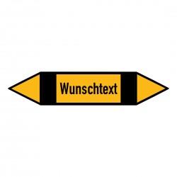 Text nach Wunsch: Pfeilschild bis Ø 40mm gelb / schwarz | b2b-schilder.de
