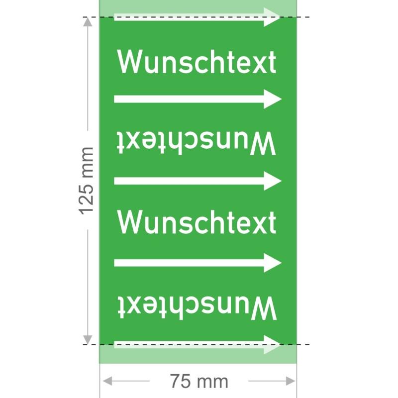 Wunschtext Rohrleitungsband Gruppe 1   Typ 2 - 75mm breit