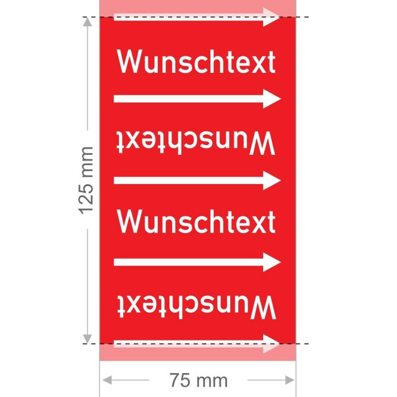 Wunschtext Rohrleitungsband Gruppe 2 | Typ 2 - 75mm breit