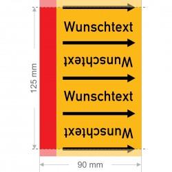 Wunschtext Rohrleitungsband Gruppe 4 | Typ 2 - 90mm breit