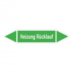 Heizung Rücklauf: Pfeilschild mittel Gruppe 1 Wasser grün / weiß | b2b-schilder.de