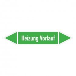 Heizung Vorlauf: Pfeilschild mittel Gruppe 1 Wasser grün / weiß | b2b-schilder.de