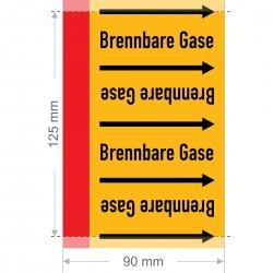 Brennbare Gase Rohrleitungsband Gruppe 4   Typ ST - 90mm breit