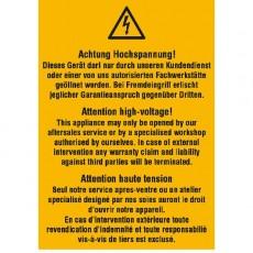Achtung Hochspannung! Dieses Gerät darf nur durch unseren Kundendienst..., 3-sprachig (D / GB / F)