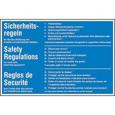 5 Sicherheitsregeln mehrsprachig |Gebotsschild B2B Schilder